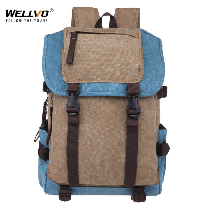 New Classic Men Canvas Travel Laptop Rucksack Shoulder BagsTeenage Boys Backpacks Large School Vintage Students Packet XA270WC
