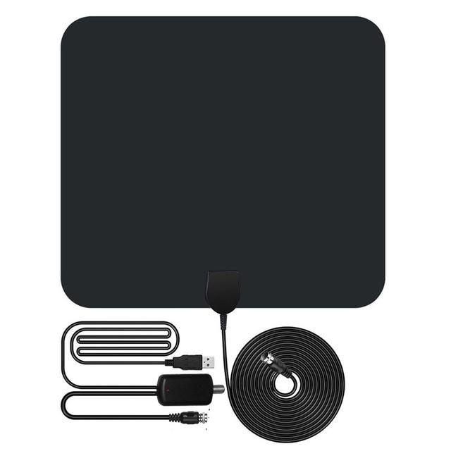 Interna amplificada HDTV Amplificador de Sinal de Antena de TV 50 Miles Range com Destacável cabo coaxial Ultra Slim Design 13FT