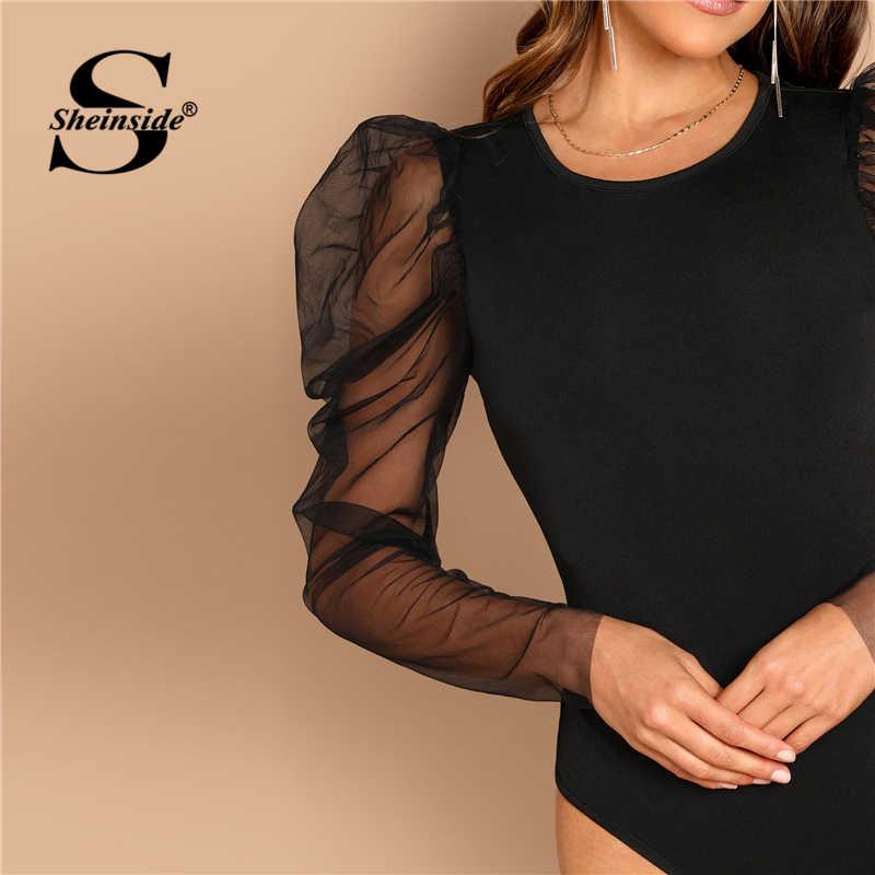 Sheinside контрастная сетка Gigot рукав черный Боди для женщин средняя талия для стройных сексуальное боди элегантные женские боди с длинным рукавом
