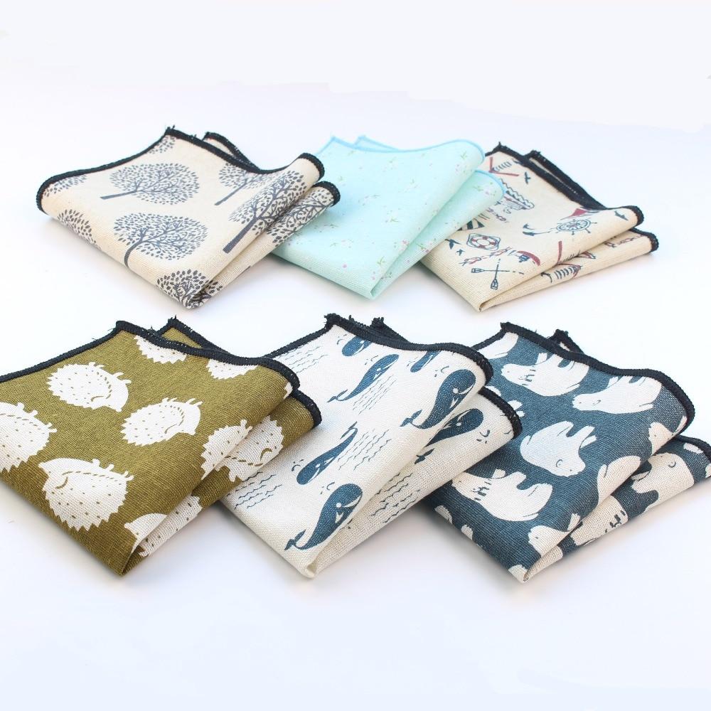 Men's Vintage Style Flax Linen Handkerchief Hedgehog Boat Bear Whale Pocket Square Hankies Towel Casual