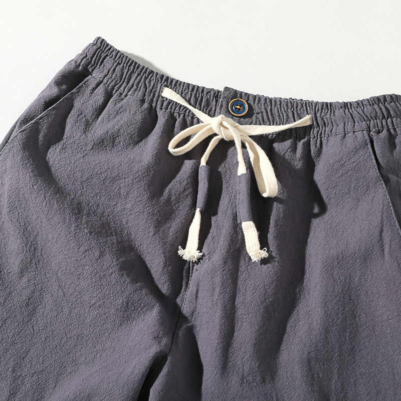 2019New высокое качество Для мужчин; летние штаны для повседневной носки из натурального хлопка льняные брюки Белый лен эластичный пояс прямые мужские брюки