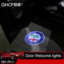 QHCP 2 шт. двери автомобиля Добро пожаловать огни для Alfa Romeo Giulia Stelvio автомобиля светодиодный Двери Предупреждение свет проектора (логотип настраиваемый)