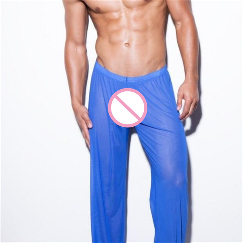 Sexy Casual Lounge Sleep Bottoms Men's Transparent Pants