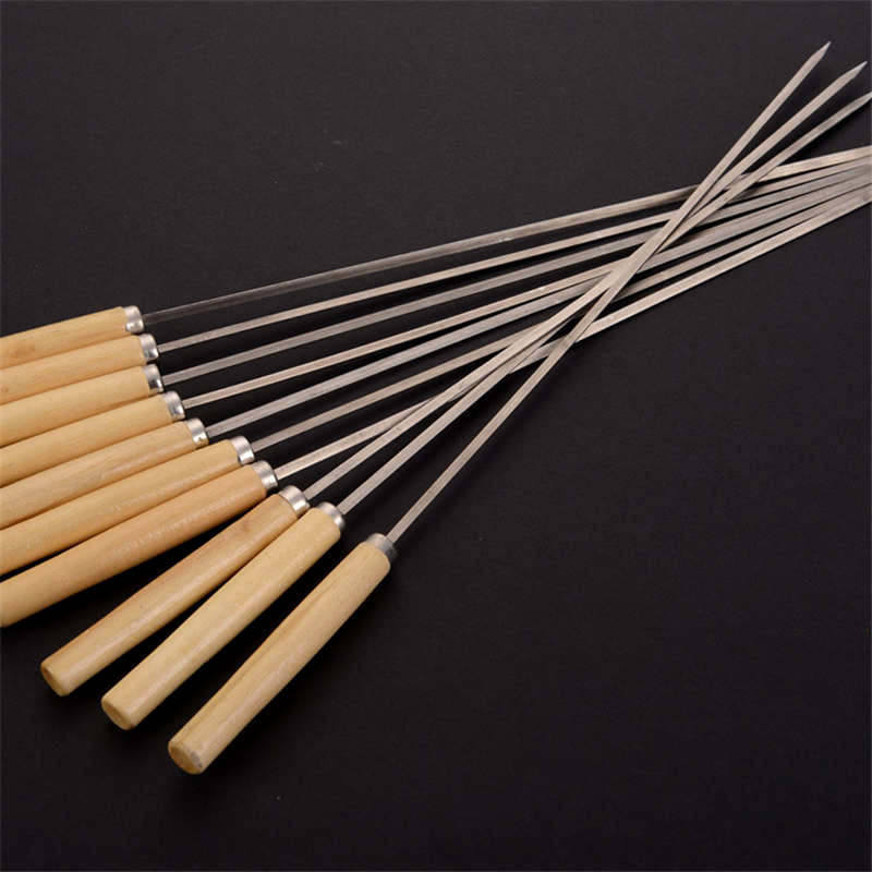DoreenBeads Stainless Steel BBQ Forks with Wooden Handle Grill Picnic Shish Skewers Barbecue Flat Needle Stick 33.5cm long 2PCs