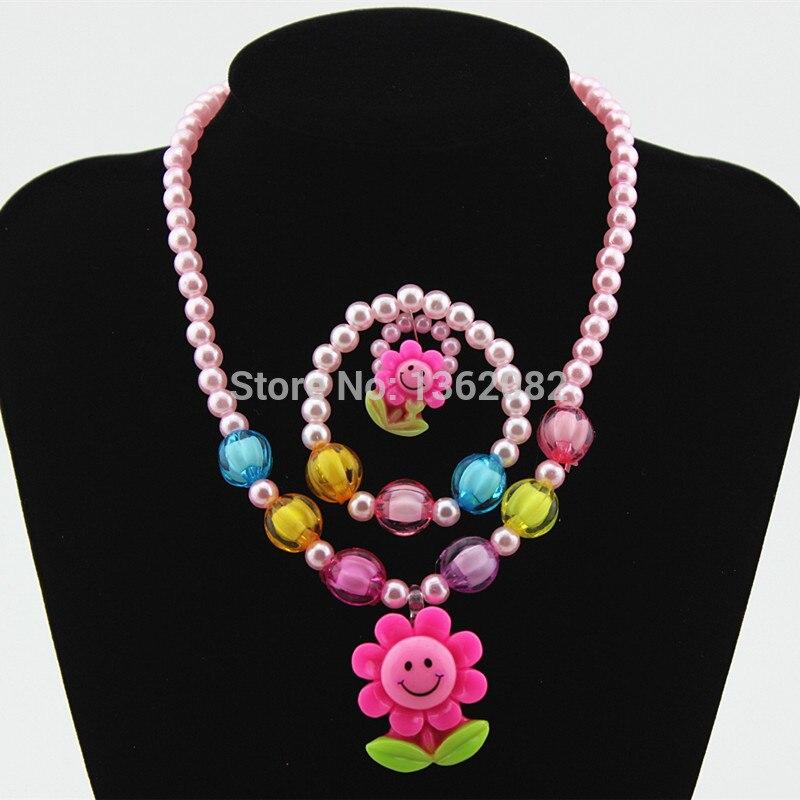 Cute Baby Girl S Sunflower Smiley Necklace Bracelet Ring Imitation