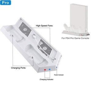 Image 2 - مروحة تبريد بيضاء ، حامل تبريد عمودي وحدات تحكم مزدوجة جهاز شحن USB Hub لجهاز بلاي ستيشن 4 برو PS4 برو وحدة التحكم عرض V2
