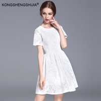 2017 New V Back White Lace Mini Dresses Short Sleeve A Line Bodycon Nylon Cotton Party