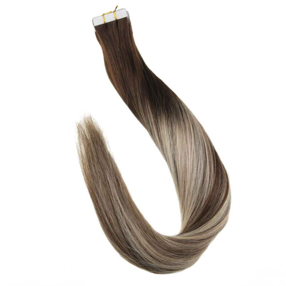 Full Shine Tape in Human Hair Extensions Balayage Color #4/27/14 50g 20 Pieces 100% Remy Skin Weft