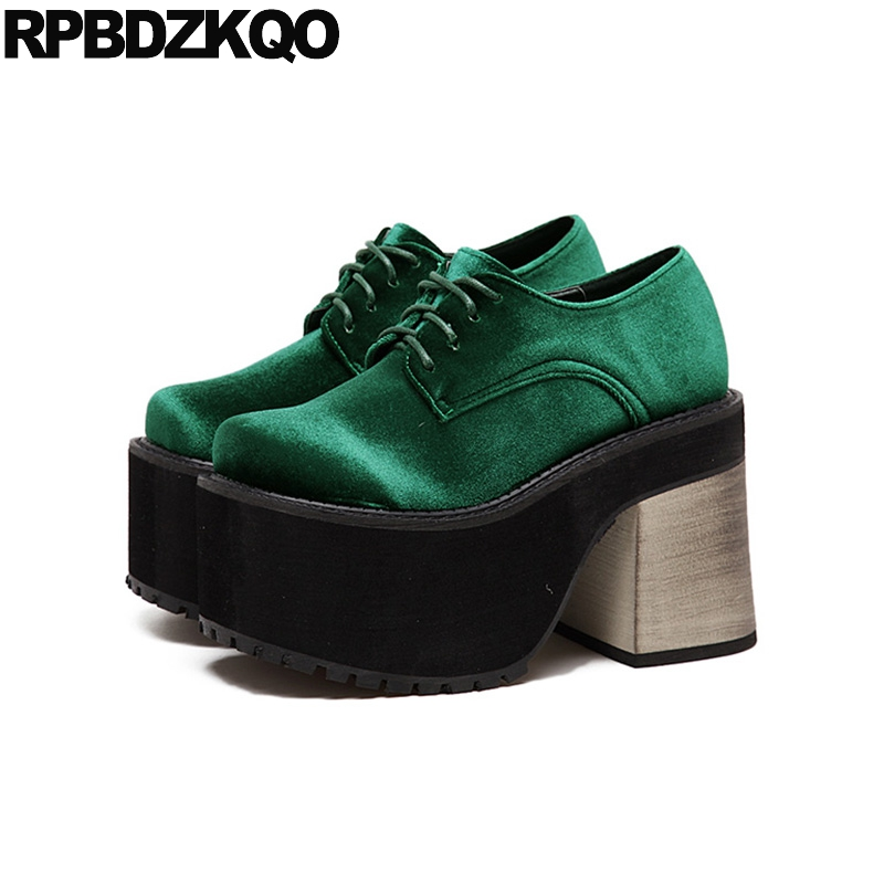 все цены на Harajuku Slip On High Heel Rock Extreme Fetish Booties Chunky Women Velvet Green Gothic Platform Boots Punk Shoes Satin Ankle