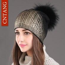 2020 neue Winter Mützen Damen Gestrickte Wolle Warme Hüte Mode Pom Pom Echt Waschbären Pelz Caps Skullies Hut Für Frauen druck Pelz Kappe