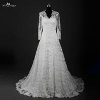 RSW836 Winter Vintage Lace Long Sleeve Wedding Dress With Free Bolero Fur Jacket
