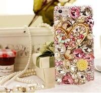 Bling flor rosada del corazón de diamantes para iphone 7 6 6 s más 5 5S sí 5c samsung galaxy note 7 5 4 3 2 s5 s7 s6 edge plus/4/3 a8