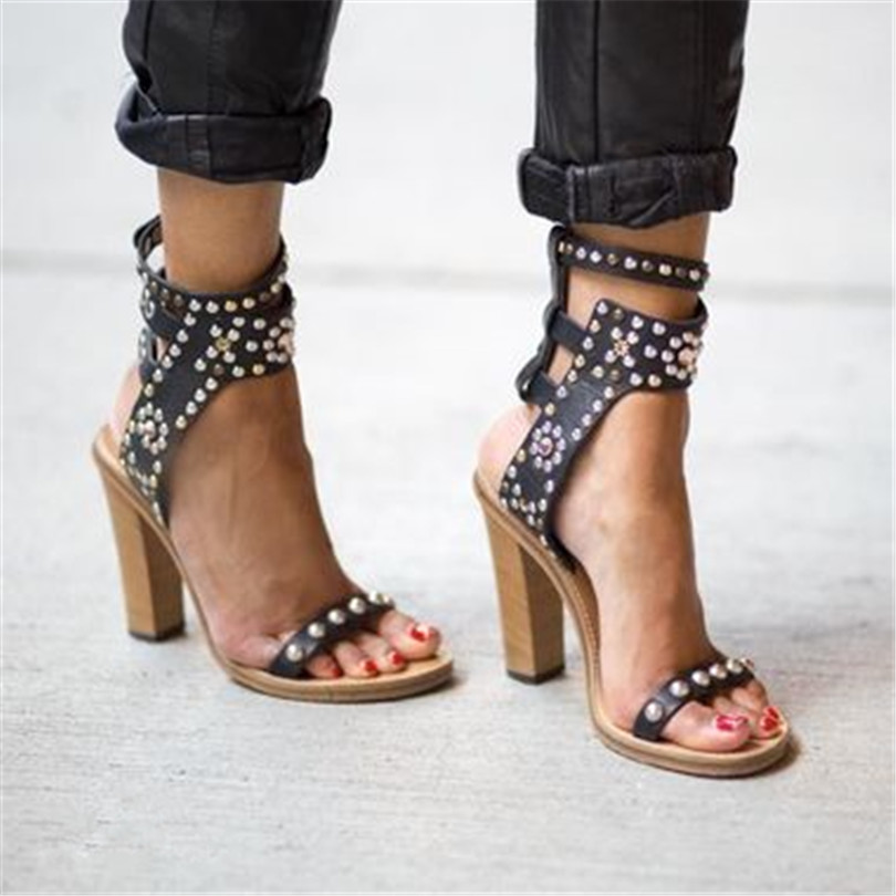 New Fashion Vacation Rivet Women Roma Style Sandals Adjustable Ankle Buckles Wood Heels Ladies Sexy High Heels Gladiator Sandals fashion summer apricot sandals charming multi buckles design woman high heels ankle buckles cover heel back zipper free ship