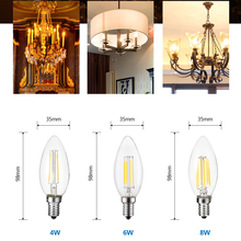 LUCKYLED E14 Led Candle Bulb Light 2W 4W 6W 220V 240V Dimmable Vintage Filament Lamp E12 110V Edison Bulbs For Indoor Lighting