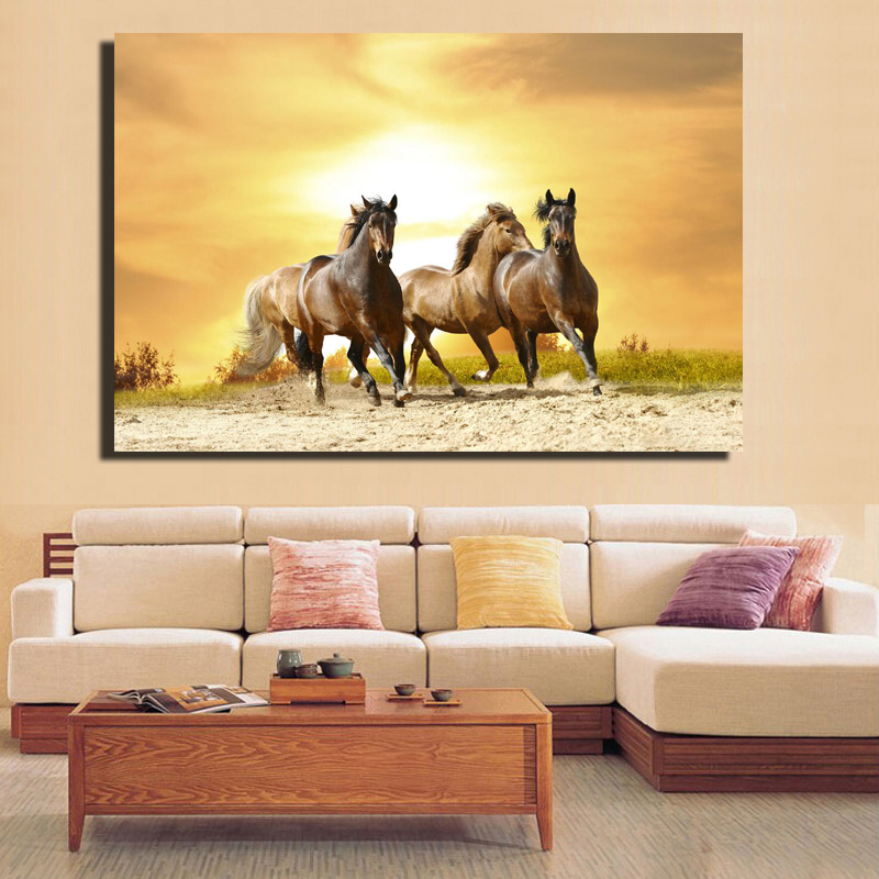 Size 60X90CM Wall Pictures Horse Running In The Sunset Canvas ...