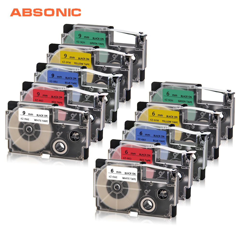 Absonic 6mm 9mm Label Tape For CASIO XR-6WE XR-9WE KL-170 KL-7400 KL-G2 Printer Labelmaker For CASIO XR-6X XR-9WE Tag RibbonAbsonic 6mm 9mm Label Tape For CASIO XR-6WE XR-9WE KL-170 KL-7400 KL-G2 Printer Labelmaker For CASIO XR-6X XR-9WE Tag Ribbon