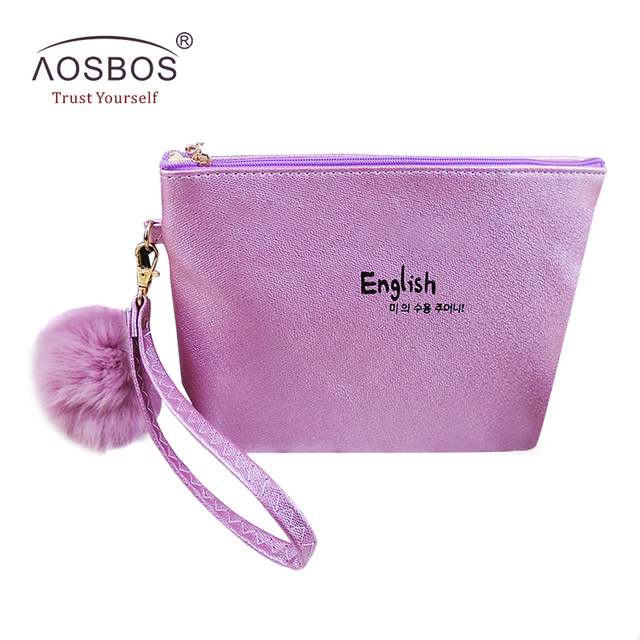 e54513ef9262 Aosbos Women PU Leather Cosmetic Bags Waterproof Travel Organizer Pouch  Portable Toiletry Bag Cute Makeup Bags
