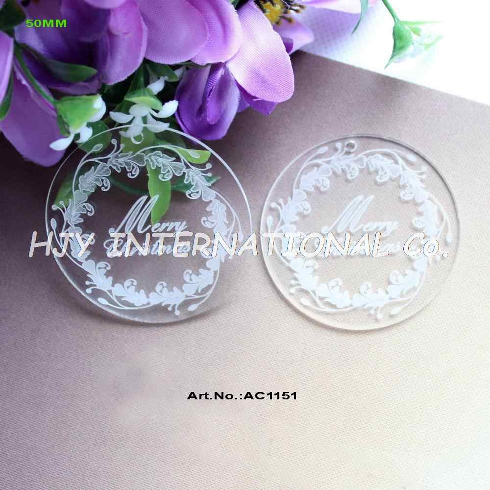 "(20pcs/lot) 50mm Clear Acrylic Circle Pendants Merry Christmas Engraved Disc Tags Eco-Friendly 2""-AC1151"