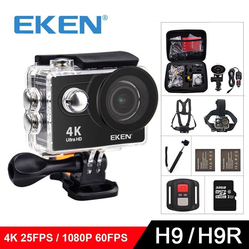 Eken H9/h9r оригинальный ультра FHD 4k 25FPS действия Wi-Fi камера 30m Водонепроницаемая 2 Экран 1080 P подводный экшн-Камера GoPro Спорт cam
