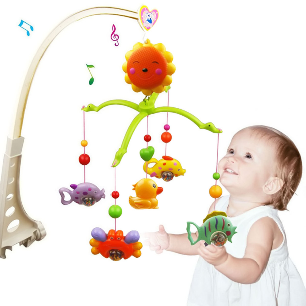 Baby 360 Degree Rotatable Sunflower Music Hand Bed Crib Bell with Fish Duck Bracket Holder Rattle Toys Mobile Bed Hanging Toys baby toys white rattles bracket set baby crib mobile bed bell toy holder arm bracket wind up music box free shipping