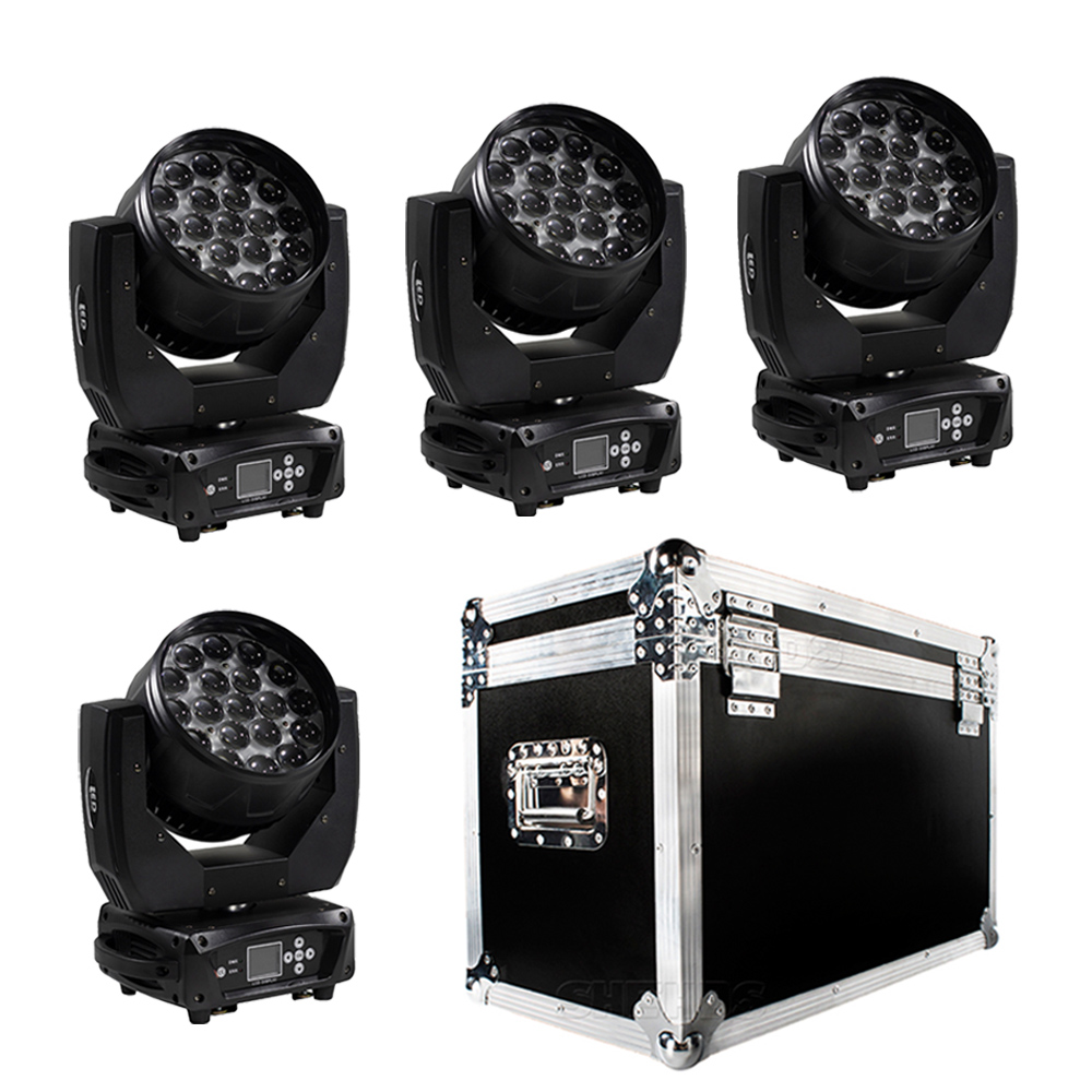 SHEHDS DMX512 Zoom Stage Light 4in1 RGBW LED Moving Head Beam+Wash 19x15W With 1 Flight Case DJ Disco Light Luminaria Luces