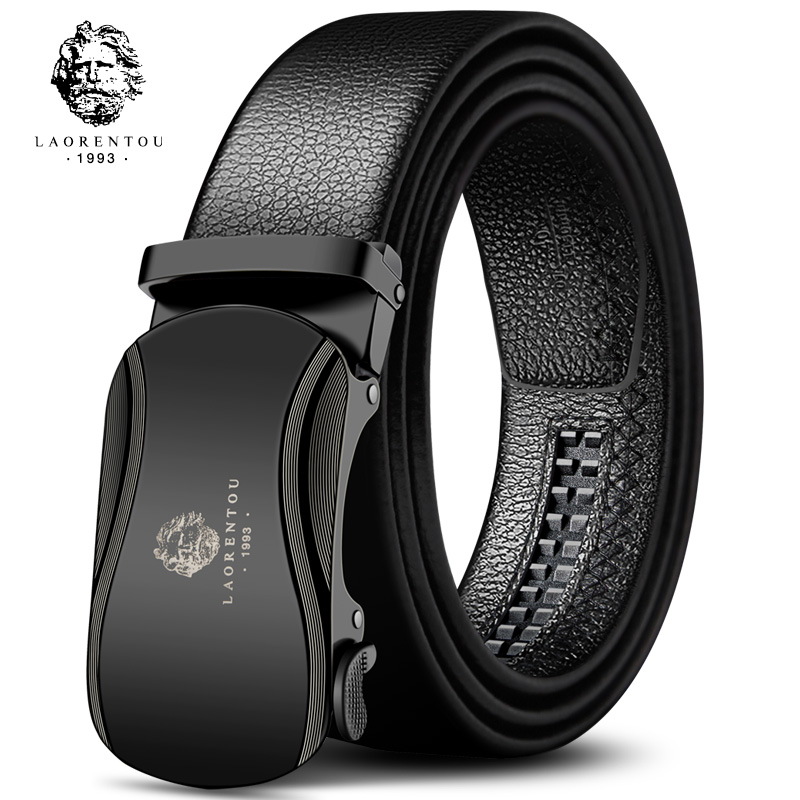 "Laorentou Men 20"" to 44"" inch Adjustable Cow Leather Belts Male Metal Automatic Buckle Belts Fashion Adult Belt for Men"