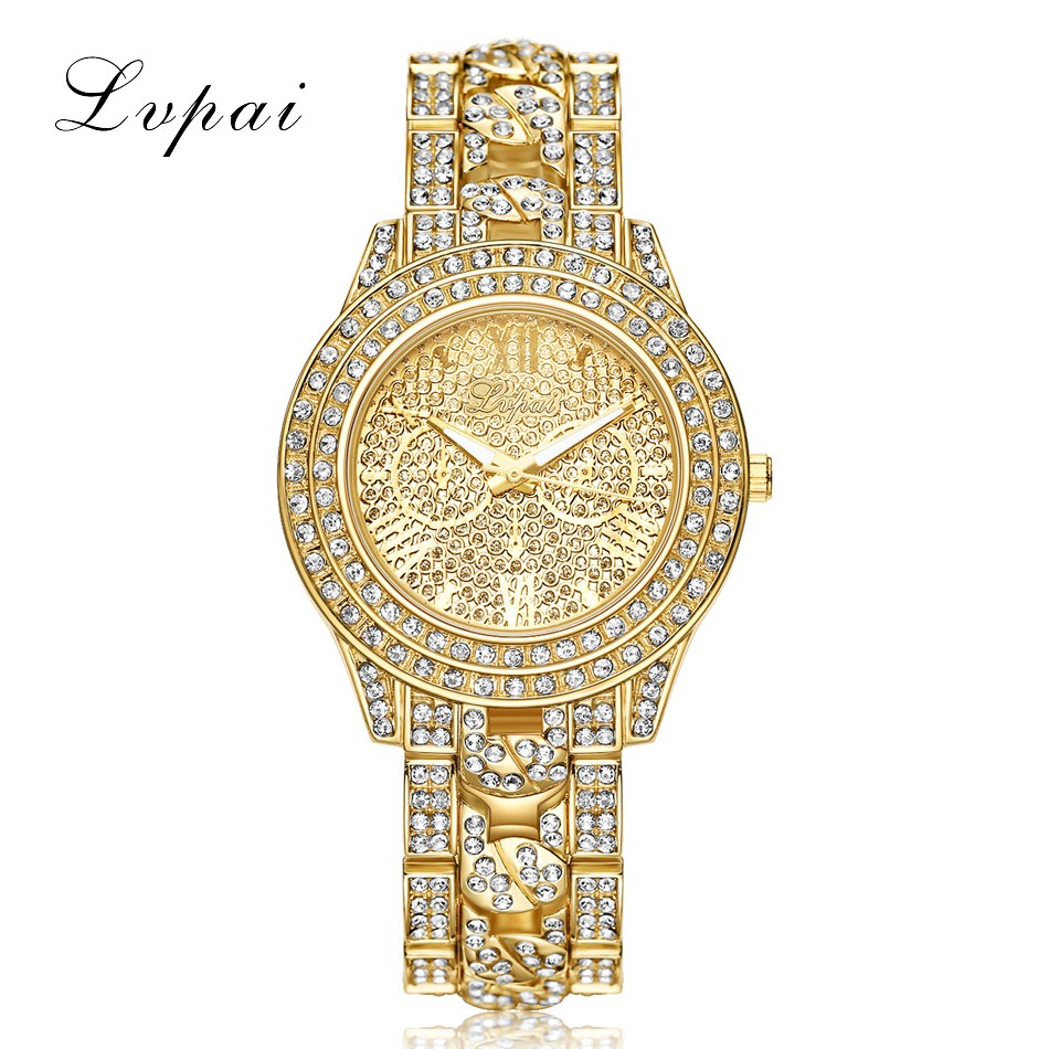 все цены на LVPAI Luxury Diamond Watches Women Fashion Brand Stainless Steel Bracelet Wrist Watch Womens Design Quartz Watch Clock Relojo в интернете
