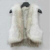 Зимние Модные женские стильные натуральная/с натуральным кроличьим мехом енота воротник вязаный жилет отделкой жилеты жилет пальто с кист