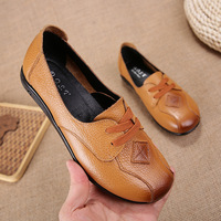 Flats Shoes Women Flats Womens Shoes Round Toe Women Cow Leather Solid Genuine Leather Casual Female Boat Shoes Lace Up Hot Lady