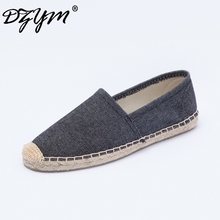 DZYM 2019 Spring Summer Linen Shoes High Quality Women Flats Loafers Classic Pink Canvas Espadrilles Smoking Zapatos Mujer