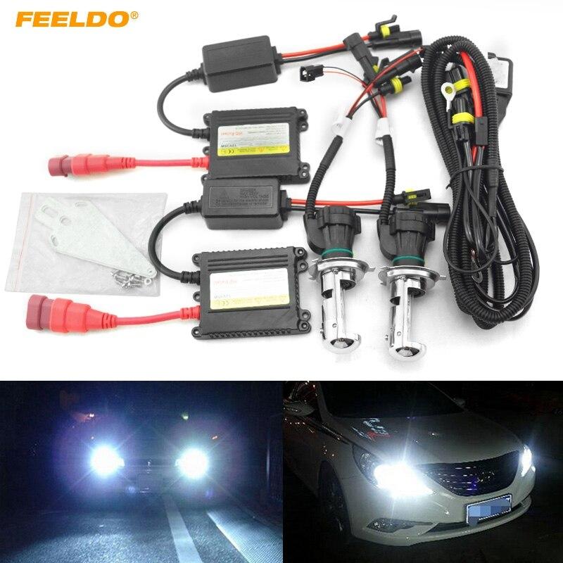 FEELDO 1 ensembles 35 W DC12V voiture phare H4 xénon ampoule Hi/Lo faisceau bi-xénon ampoule lumière mince Ballast HID Kit # FD-4481