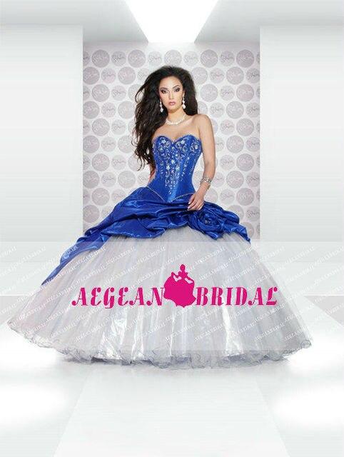 bw90 robe de bal ch rie de l 39 paule perles blanc et bleu. Black Bedroom Furniture Sets. Home Design Ideas