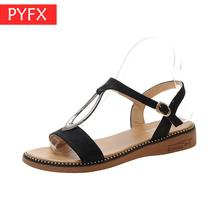 Summer 2019 New Fashion Belt Button Korean Edition Student Flat-bottomed Open-toed Womens Sandals Metal decoration Package mail