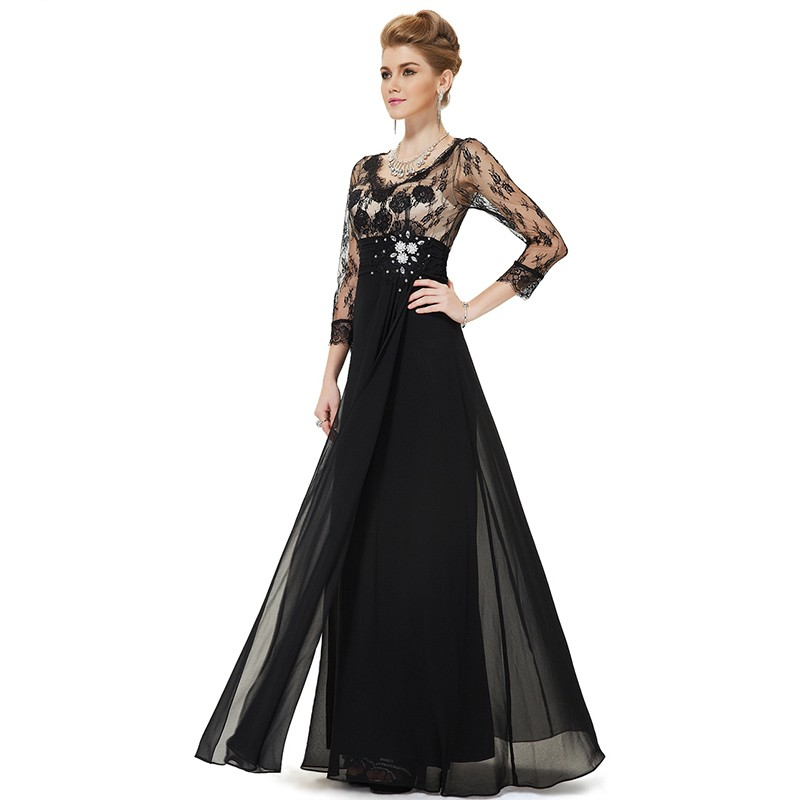 Hot-Selling-Black-Long-Mother-Of-The-Bride-Dresses-A-Line-V-Neck-Three-Quarter-Sleeve