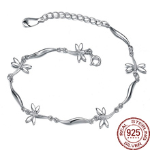 Factory Free Solid Butterfly 925 Sterling Silver Bracelet Bangle Fashion Brand Design Jewelry For Women Party Girl Charm Europe