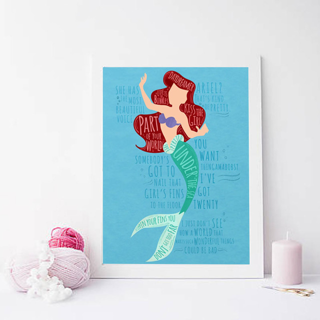 Super Deal 373043 Little Mermaid Ariel Cute Wallpaper Canvas Painting Print Living Room Home Decor Modern Wall Art Oil Painting Poster Pictures Hd Cicig Co