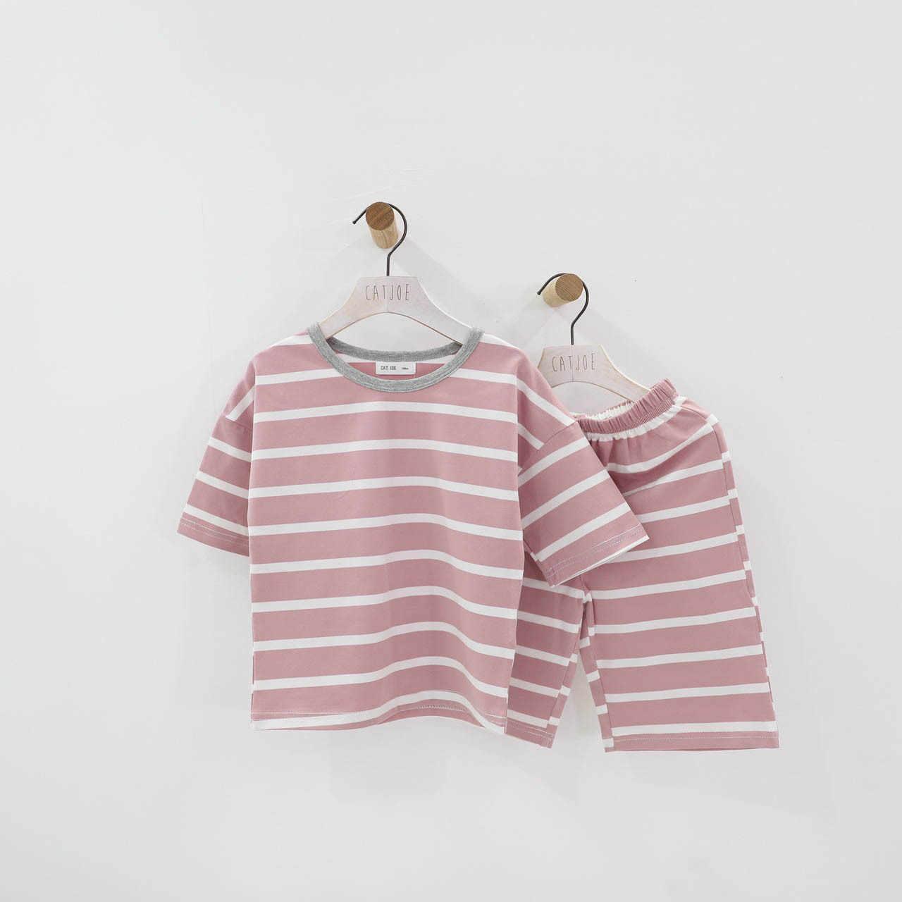 2020 Zomer Koreaanse Jongens Meisjes Baby Netto Rode Gestreepte Korte Mouwen Pak Katoen 2 Sets Van Kinderen Snoep Kleur pyjama