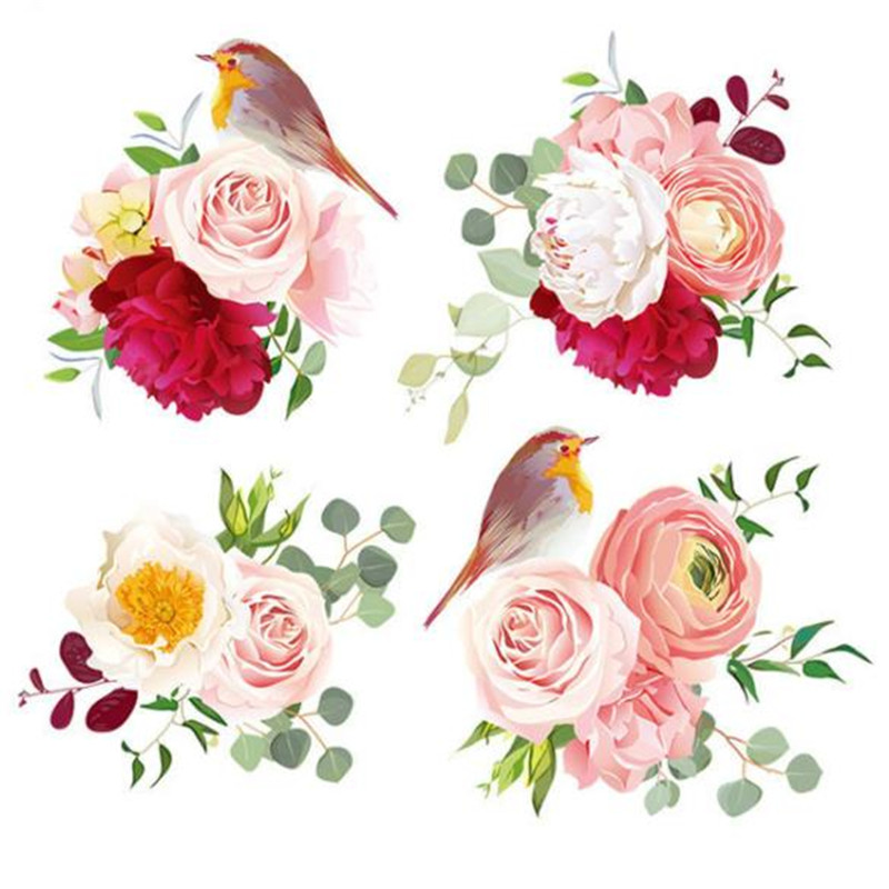 T shirt patch Diy puzzle design bird flower 28cm logo iron on patches for clothing trans ...