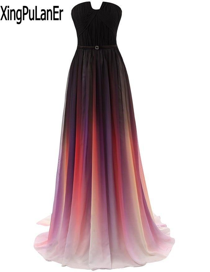 vestido de festa A Line Sweetheart Sleeveless Multicolor Sexy Long Chiffon Women   Prom     Dresses   Evening Party Gowns