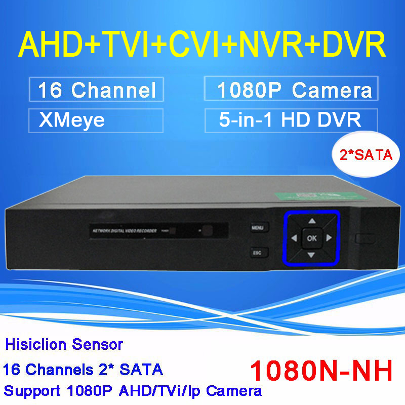Hi3521A Xmeye Blue-ray Case 2 SATA 16 Channel 1080N 5 in 1 Surveillance Video Recorder Hybrid TVI CVI NVR AHD DVR Free shipping
