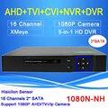 Hi3521A Xmeye Blue-ray Caso 2 SATA 16 Canais 1080N 5 em 1 Vigilância Gravador De Vídeo NVR Híbrido CVI TVI AHD DVR Livre grátis