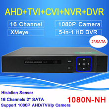 Hisiclion Sensor Blue-ray Case Two SATA 16 Channel 5 in 1 Function 1080P/960P/720P/960H Hybrid TVI CVI NVR AHD DVR Free shipping