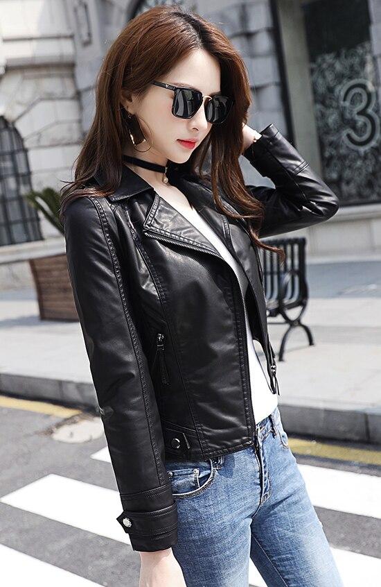 14a87b5a36cf 2019 Cuir Mode Survêtement Courte Veste Femmes Manteau Noir Femelle En  Vêtements Slim Petit Nouveau De ...