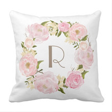 Pink Peonies Floral Wreath Monogram Pillow case Size:40cm-50cm