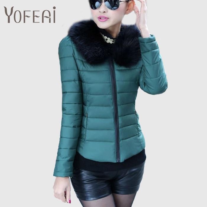 YOFEAI Ceketler Kadın Down Ceketler Sonbahar Kış Aşağı Parka Kürk Yaka Palto Rahat Ince Ceketler Yastıklı Parkas Kadın Ceketler