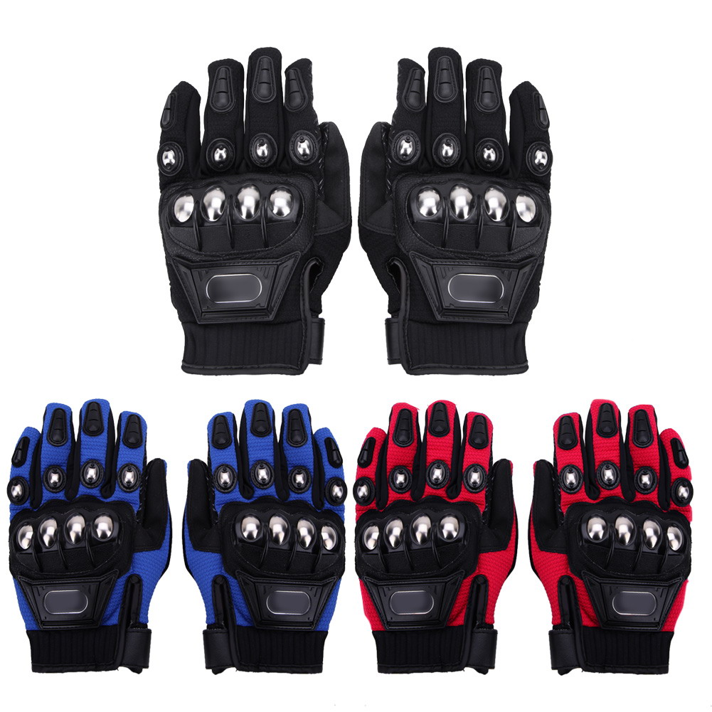 Motorcycle gloves metal - 3 Colors Motorcycle Gloves Outdoor Sports Full Finger Motorcycle Riding Protective Armor Black Short Leather Warm