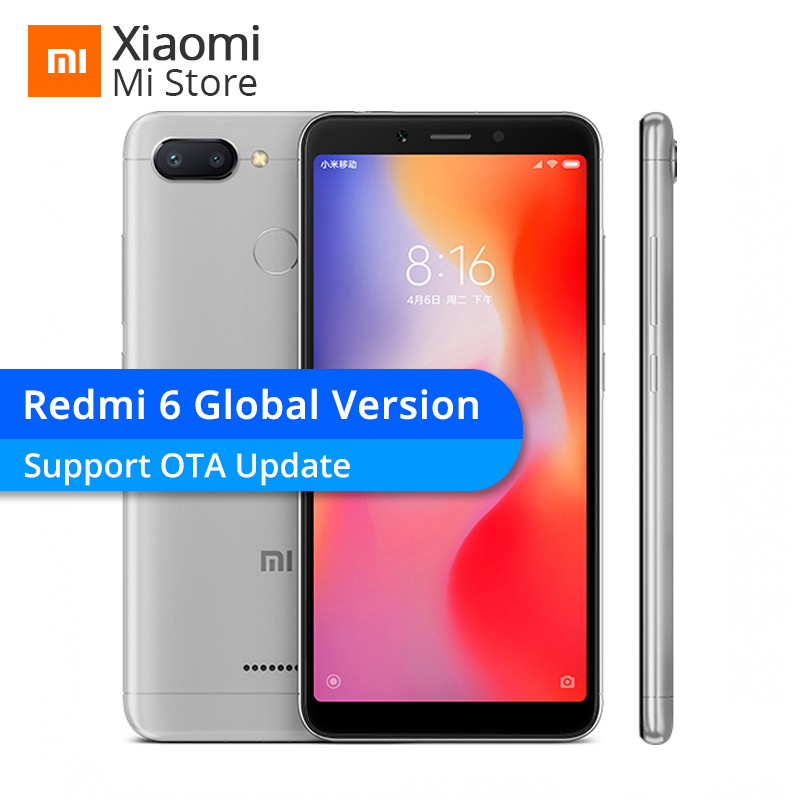 Global Version Xiaomi Redmi 6 3GB 32GB Helio P22 Octa Core CPU 12MP+5MP Dual Camera 5.45″ 18:9 Full Screen 3000mAh Smartphone