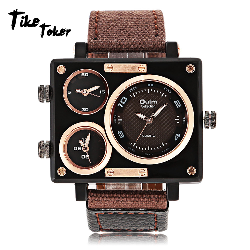 Tike Toker,Luxury Brand Man Fabric Srap Quartz-Watch Clock Male Multiple Time Zone Square Sport Watches montre homme Men watch 7 luxury men watch leather wrist watch for man three time zone watches military clock male sport big quartz watch montre homme