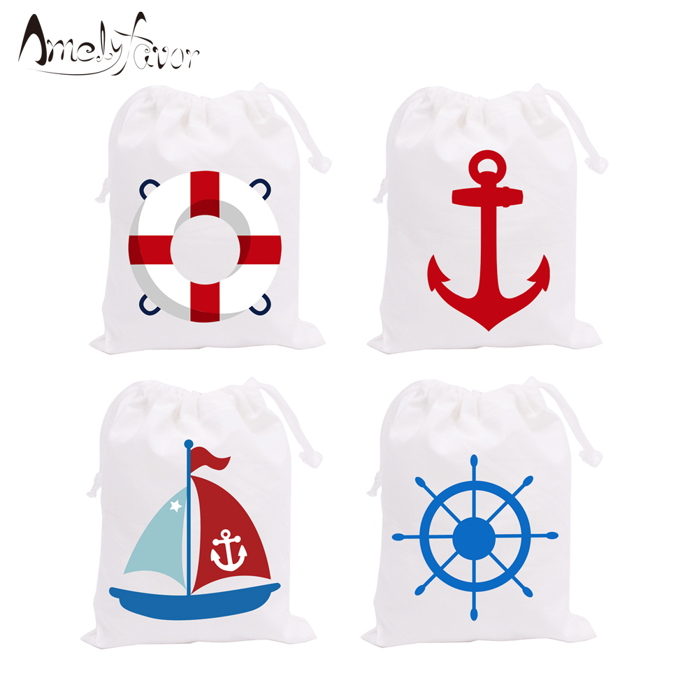 Nautical Theme Party Favor Bags Candy Bags Gift Bag Kids Birthday Party  Decoration Supplies Nautical Theme Friend Party Supplie