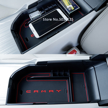 Car Central Armrest Storage Box Container Interior Stowing Tidying Accessories Car Styling For Toyota Camry 2018
